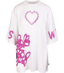 white/hot-pink cotton graphic-print two-tone t-shirt