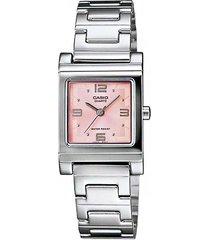 reloj casio ltp-1237d rosado con plateado para mujer