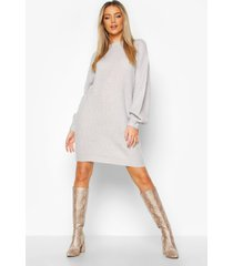 crew neck fisherman rib sweater dress, silver grey