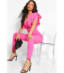 extreme ruffle plunge jumpsuit, hot pink