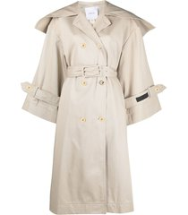 patou wide-collar trench coat - neutrals