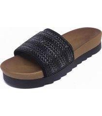 sandalia faja tejido negro mailea