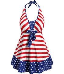 plus size bowknot halter patriotic american flag tankini swimwear