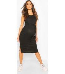 zwangerschap geribbelde midi jurk met strik, zwart