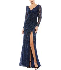 mac duggal embellished lace gown