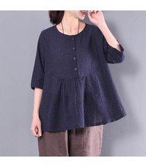 zanzea algodón señoras de lino a cuadros camisa de la tapa mujeres 3/4 compruebe los botones de la blusa -azul