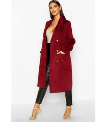 brushed wool look double breasted coat, mulberry