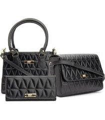 kit bolsa baú mão + bolsa flap transversal + carteira casual feminina