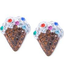 crystal ice cream cone stud earrings in sterling silver