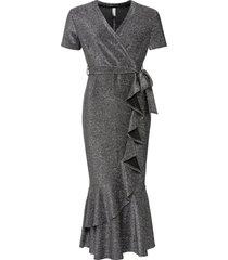 abito a portafoglio con volant (argento) - bodyflirt boutique