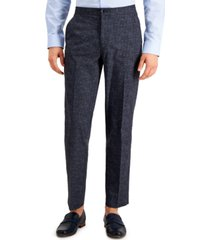 tommy hilfiger thtech men's modern fit stretch blue perforated suit separate pant