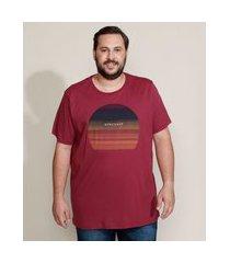 camiseta masculina plus size por do sol manga curta gola careca vinho