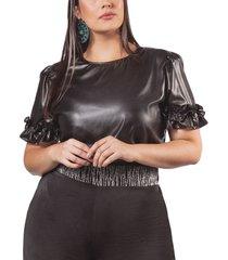 blusa adrissa plus negra con recubierto y detalle bol