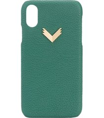 manokhi x velante embossed iphone xr case - green