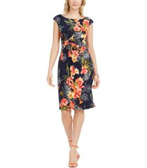 connected ruched floral-print sheath dress