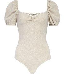 women's reformation rochelle puff sleeve bodysuit, size medium - beige