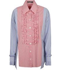 dolce & gabbana ruffled bib stripe shirt