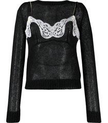 nº21 lingerie top jumper - black
