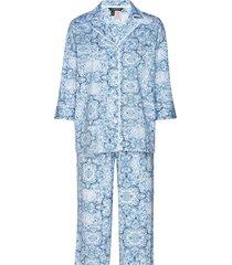 lrl notch collar l/s pant pj set pyjama blauw lauren ralph lauren homewear