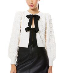 women's alice + olivia kitty bow front bobble crop cardigan, size x-small - white