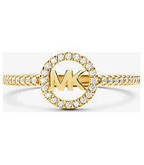 mk anello in argento sterling con placcatura in metallo prezioso e logo - oro (oro) - michael kors