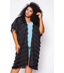 kimono almaria pus size alt brand fringe liso feminino