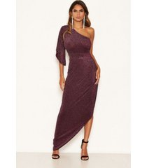 ax paris women's one shoulder sparkle maxi dress