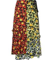 multi floral asymmetrical skirt