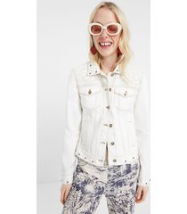 floral embroidery jean jacket - white - 46