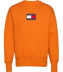 tjm small flag crew sweat-shirt trui oranje tommy jeans