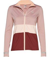 caroline f/z sweat-shirt tröja rosa kari traa