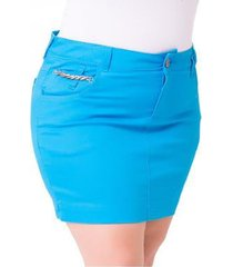 saia curta jeans confidencial jet color plus size feminina