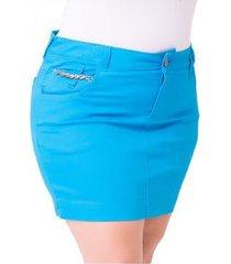 saia curta jeans confidencial jet color plus size feminina