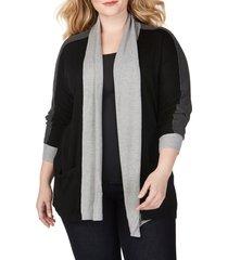 plus size women's foxcroft reede colorblock cardigan