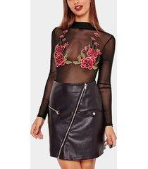 body negro con estampado de bordado de rosas sexy transparente