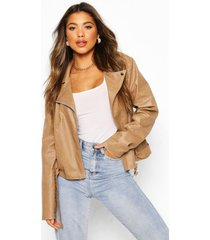 croc faux leather pu biker jacket, stone