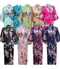 women lady high quality long peacock bride kimono robe satin night dress gown.