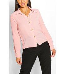 blouse met mouwsplit en kraag, blush
