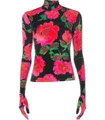 richard quinn floral print glove style top - black