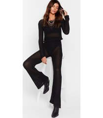 womens hole lotta trouble crochet wide-leg pants set - black