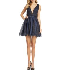 mac duggal women's sparkle fit & flare cocktail dress - midnight - size 6