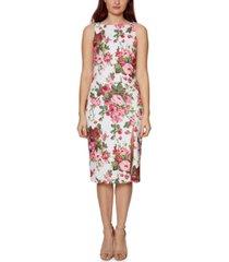 betsey johnson floral-print boat-neck sheath dress