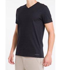 kit duas camisetas masculinas gola v básicas branca e preta calvin klein - s