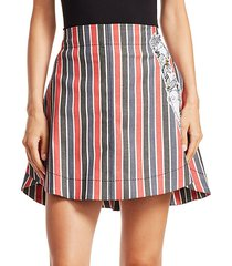 striped patch mini skirt