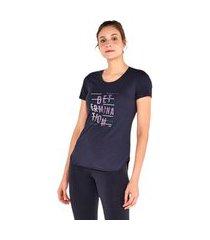 t-shirt alto giro skin fit frases inspiracionais preta - feminino preto