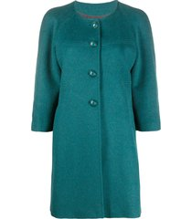 a.n.g.e.l.o. vintage cult 2000s collarless thigh-length coat - blue