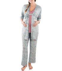 women's everly grey susan 5-piece maternity/nursing pajama set, size x-small - purple