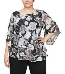 alex evenings plus size chiffon burnout floral-print top