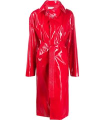 balenciaga vinyl effect belted trench coat - red