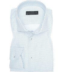 john miller overhemd blauw gestipt poplin widespread ml7 tailored fit